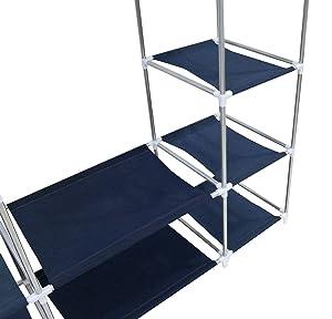 Todeco - Armadio, Guardaroba - Materiale: Tubi in acciaio inossidabile - Tipo di chiusura: Parti in velcro e zip - 3 porte, 172 x 134 x 43 cm, Blu