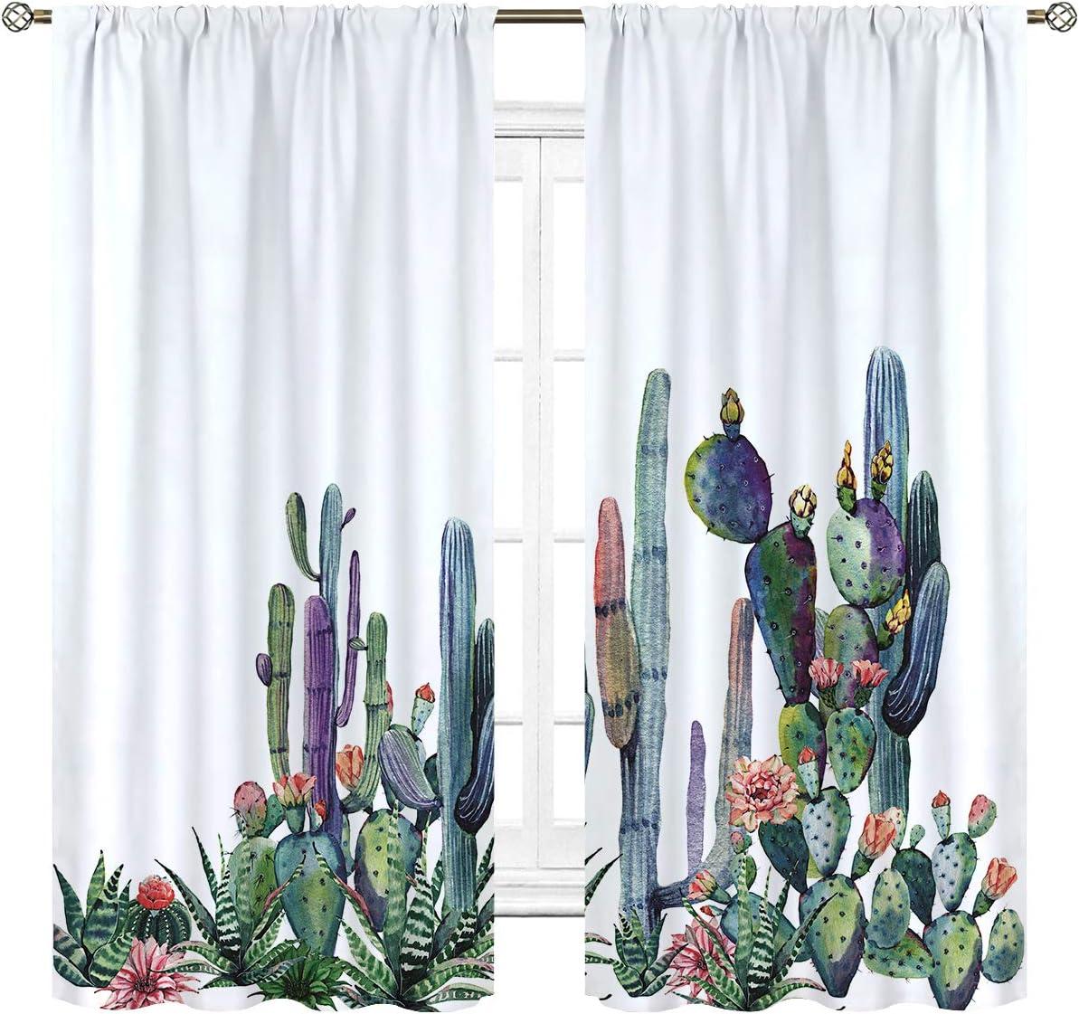 Cinblue Desert Cactus Curtains Rod Pocket Tropical Floral Succulent Saguaro Flower Cacti Nature Botanical Art Printed Living Room Bedroom Window Drapes Treatment Fabric 2 Panels 42 W x 63 L Inch