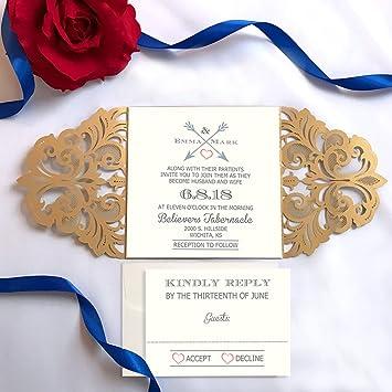Amazon Com Picky Bride Gold Laser Cut Wedding Invitations
