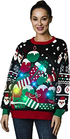 OFF THE RACK Womens LED Light Up Ugly Christmas Sweater Funny Novelty Xmas Pullover Sweater Top