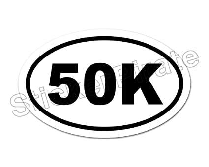 Oval euro car magnet 50k marathon distance runner magnetic bumper sticker