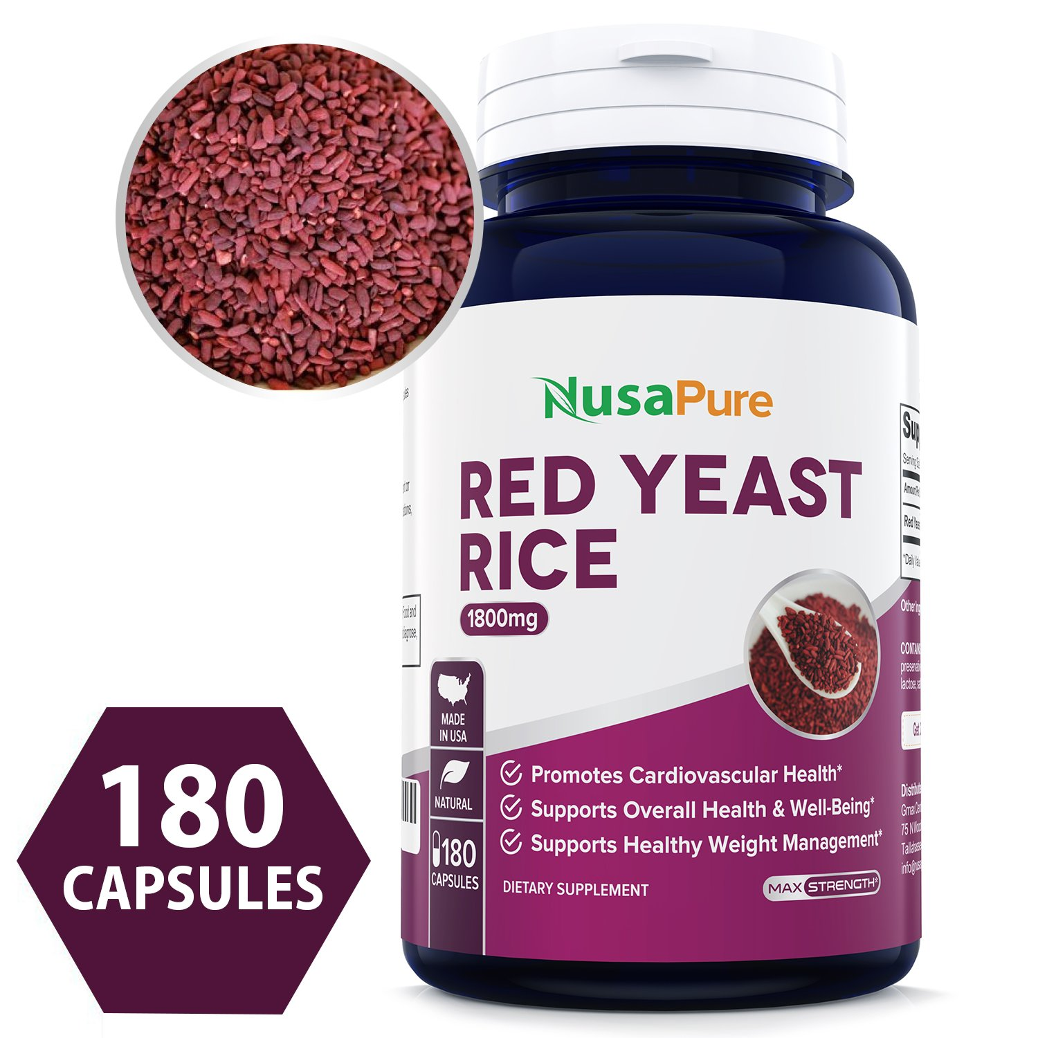 Best Red Yeast Rice 1800mg 180 Capsules (Non-GMO, Gluten Free & Citrinin Free) - Dietary Supplement Powder Pills to Support Cardiovascular Health - 100% Money Back Guarantee - Order Risk Free!