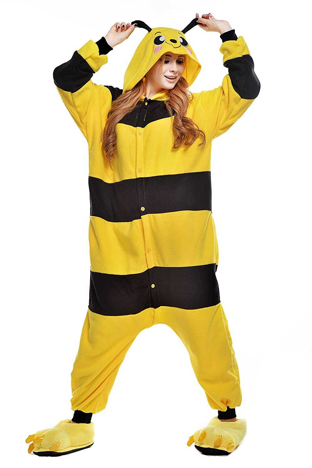Amazon.com: Unisex Aduit Pajamas- Plush One Piece Cosplay Animal Costume (M, honeybee): Clothing