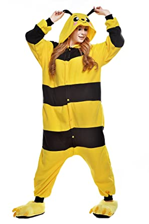 Newcosplay Unisex Adult Cosplay Pyjamas Yellow Bee Halloween Onesie Cartoon Costumes (L)