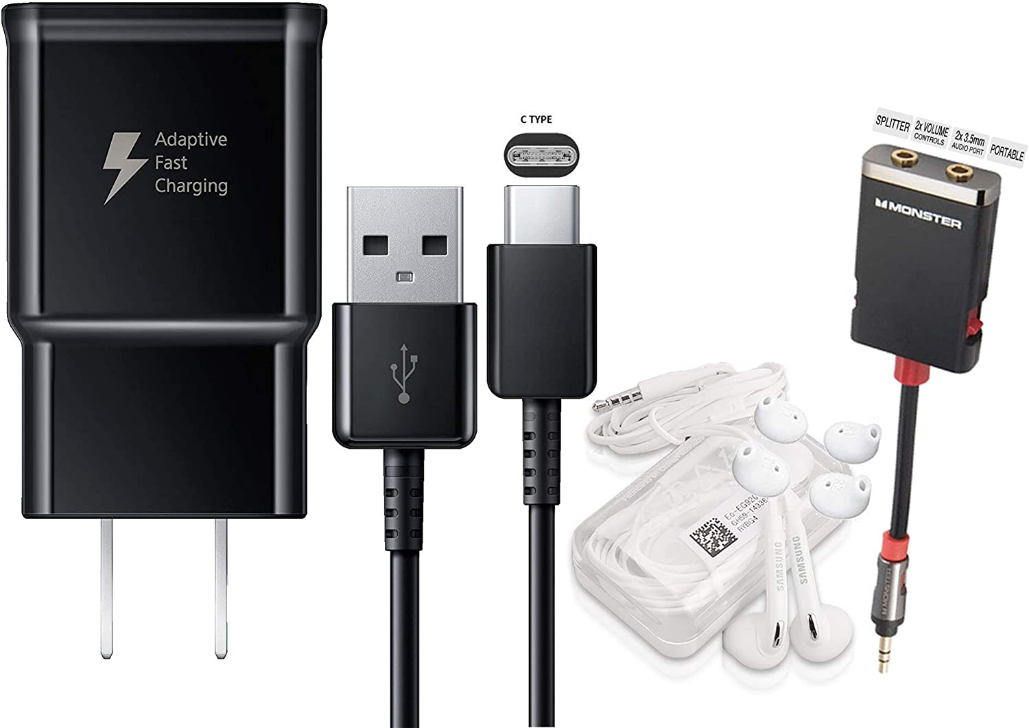 Offical OEM Samsung Adaptive Fast Charging Black Charger for Samsung Galaxy S8//S9//S10+//Note8//Note9 /& W//Headset /& Splitter Combo Pack