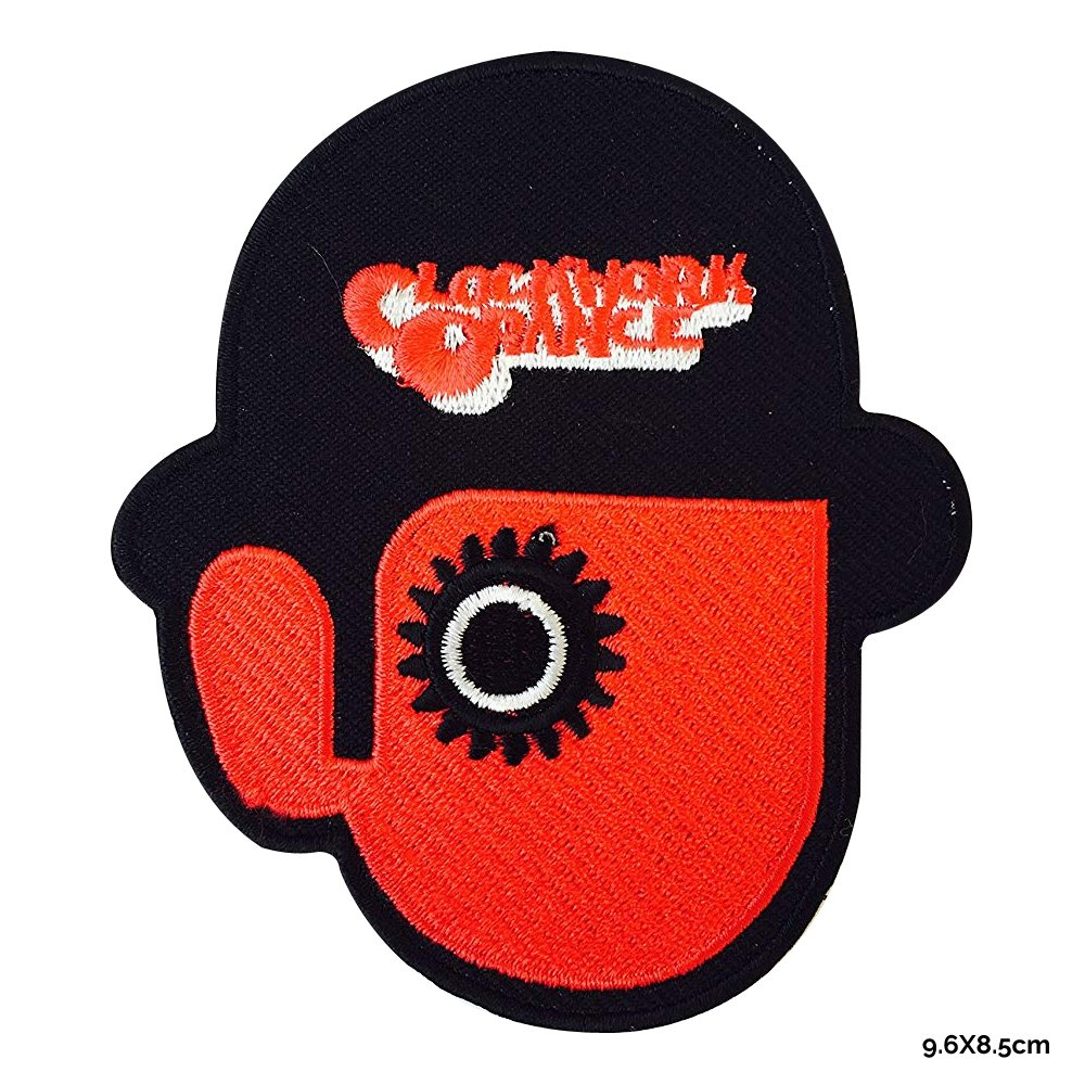 Toppa ricamata da stirare o cucire con scritta Clockwork Orange REAL EMPIRE motivo: Droog