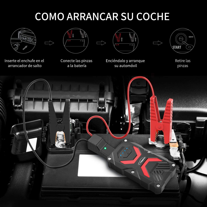 YABER Arrancador de Coches,13800mAh 1000A Arrancador Batería Coche ...