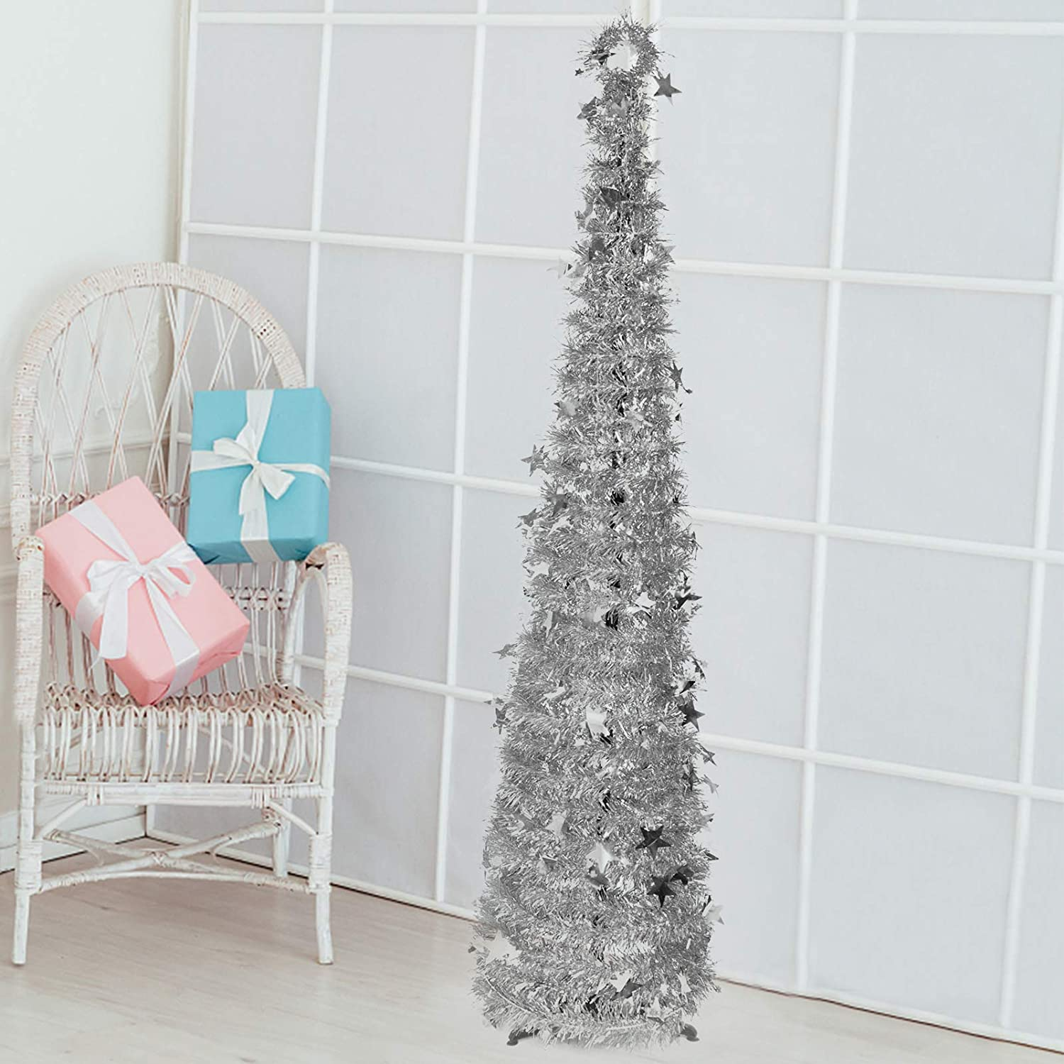Indoor Christmas Tree Decorations, 5.9ft Vintage Cute Skinny Small Pop up Xmas Tree Decor for The Home Bedrooms Office(Silver)
