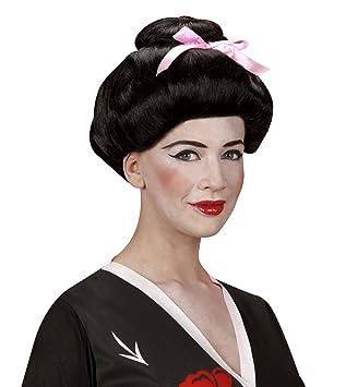 WIDMANN Peluca, modelo de geisha con cinta, negro/blanco.: Amazon.es ...