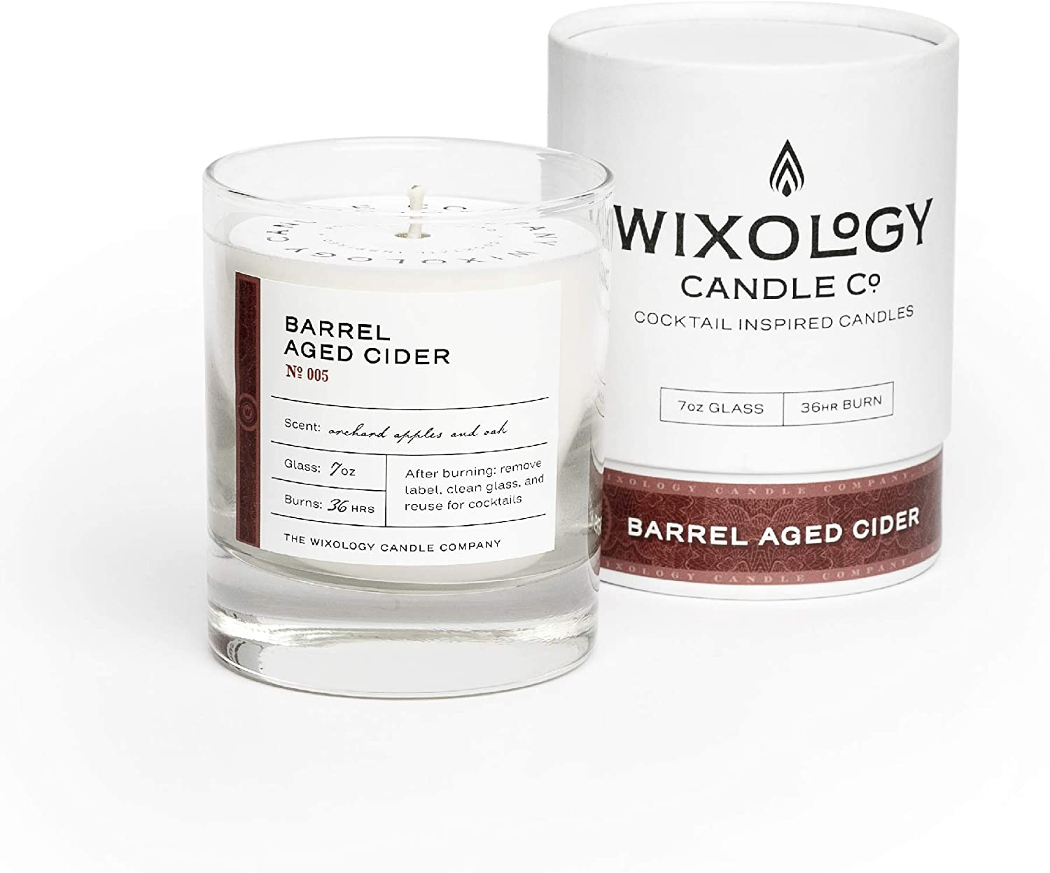 Wixology Cocktail Inspired Barrel Aged Cider Soy Candle - Apple Spices and Oak Scented Candle in Reusable Rocks Glass - Made in Kentucky - 7 oz