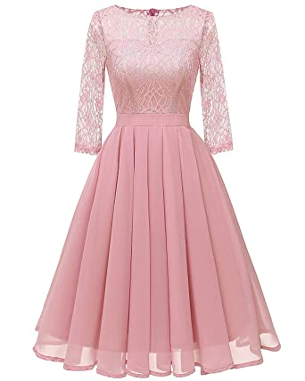 Womens Lace Midi Dress Sheer Long Sleeves Skirt A Line Chiffon Homecoming Dresses Light Champagne Xl