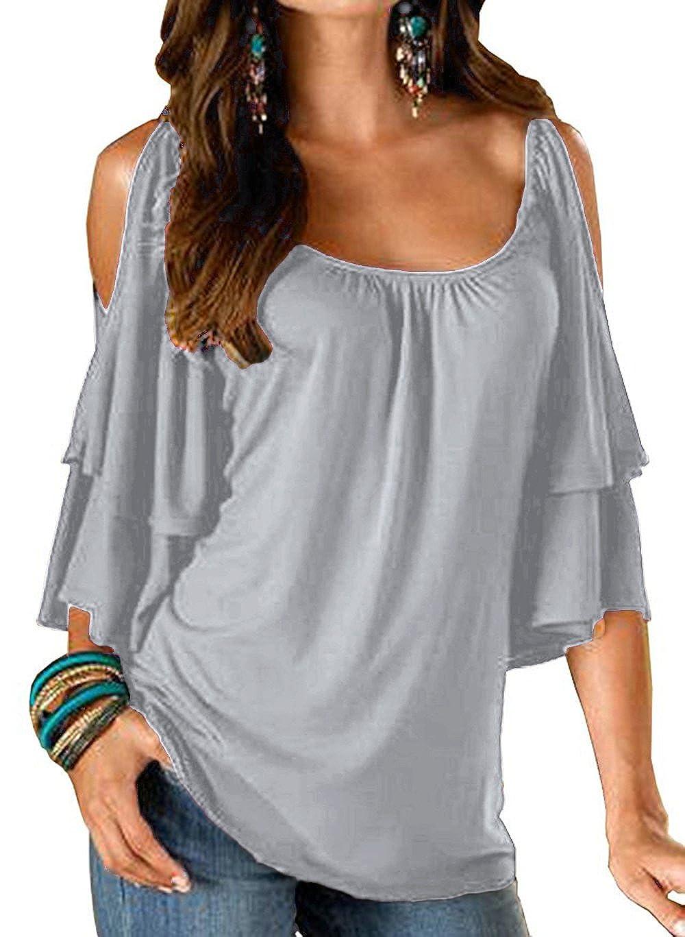 Unbrand T Shirt Spalle Scoperte Moda Bluse con Volant Camicie Estive Donna Maglietta Girocollo Camicetta Manica Corta Casual Tunica Top Scollo a Barca Pullover Sweatshirt Tumblr Tinta Unita