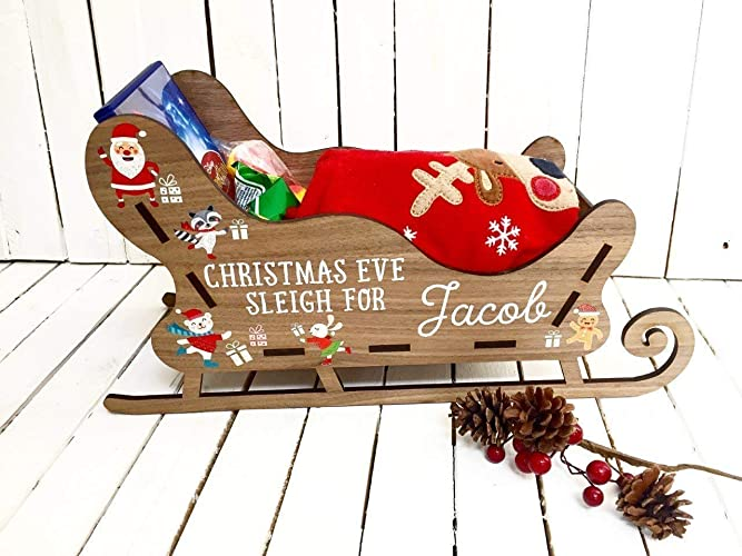 Christmas Eve Sleigh Box Personalised Wooden Boxes Gift For Kids