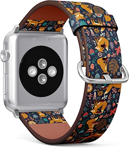 Compatible with Apple iWatch Series 1/2/3/4 (38mm & 40mm), Replacement Leather Bracelet Wristband Strap [ Fox ]