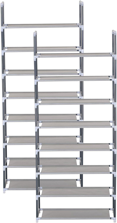 WOLTU SR0030 Scarpiera Semplice Porta Scarpe Scaffale 8 Ripiani in Acciaio Inox Tessuto per 32 Paia di Scarpe