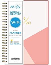 "Blue Sky 2019-2020 Academic Year Weekly & Monthly Planner, Flexible Cover, Twin-Wire Binding, 5"" x 8"", Cali Pink"