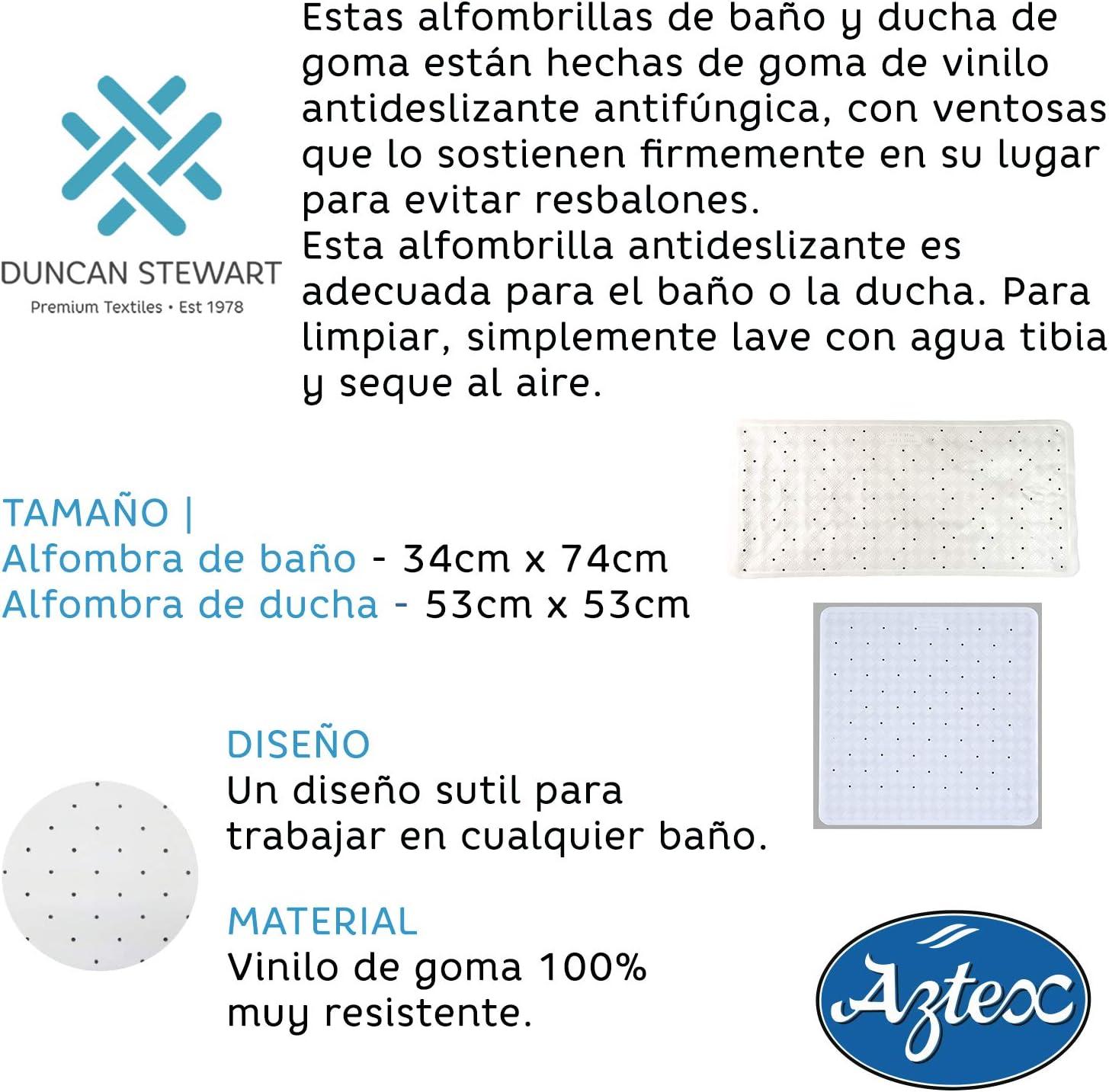 aztex Alfombra De Ba/ño o Ducha con Clips De Ventosa Gris Alfombra de Ducha Vinilo