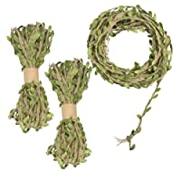 YuCool 98 Feet 5MM Burlap Leaf Ribbon, Natural Wall Hanging Jute Vine Twine with Artificial Green Leaves for Rustic Wedding,Home,Garden,Jungle Party Decorations and DIY Crafts Decor(3 Rolls)