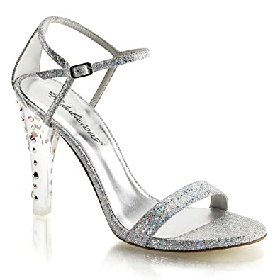 Summitfashions Womens Silver Glitter Heels Ankle Strap Sandals Closed Back  Inch Shoe