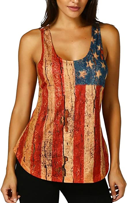 720e4b989dec1 2019 New Women s Lace Sleeveless American Flag Tank Tops Casual Blouse Tops  T-Shirt by