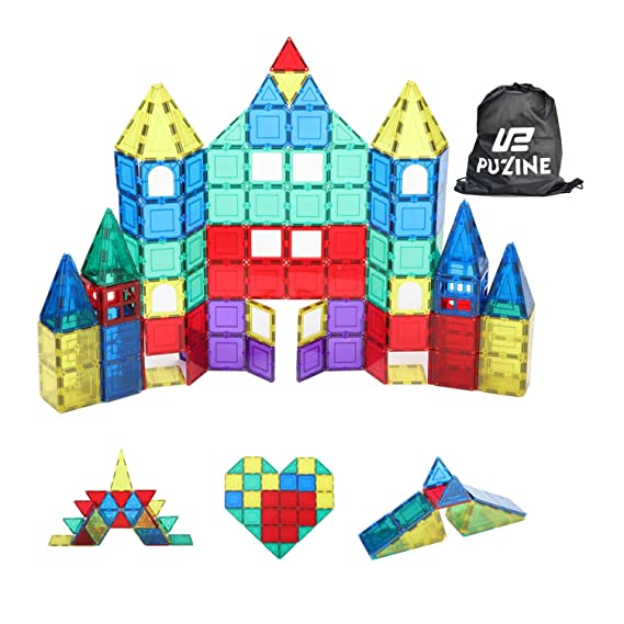 PUZINE Set 68pcs Magnetic Building Blocks Tiles Clear 3D Construction Playboards Creativity Recreational Educational Toys for Kids Above 3 Years Old