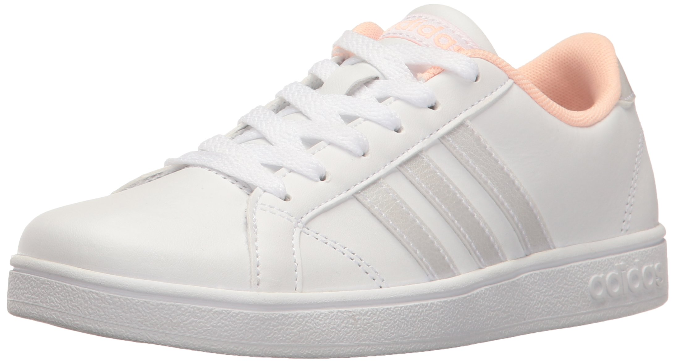 best cheap d44ad f893c Galleon - Adidas Unisex-Kid s Baseline K Sneaker, White Coral, 4.5
