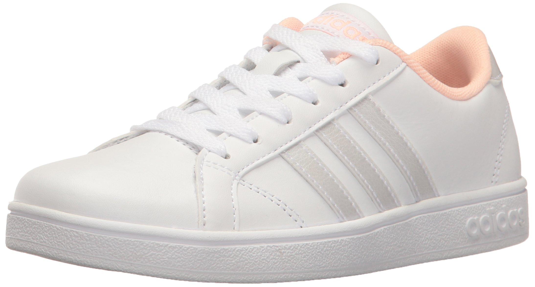 adidas Unisex-Kid's Baseline K Sneaker White/Coral, 7