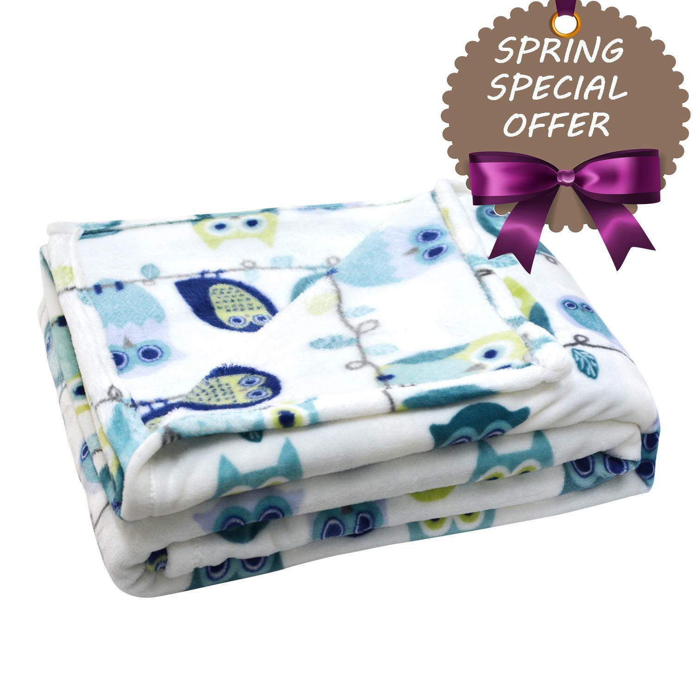 Brandream Coral Fleece Blanket Full Size Kids Adults Bed Blankets Soft Cozy Cartoon Owl Blankets Gift Ideas