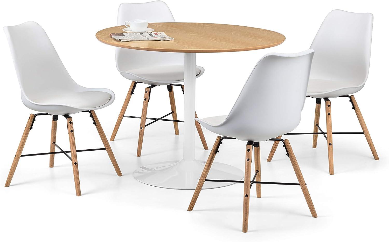 Julian Bowen Blanco Round Oak /& White Pedestal Table One Size White /& Oak