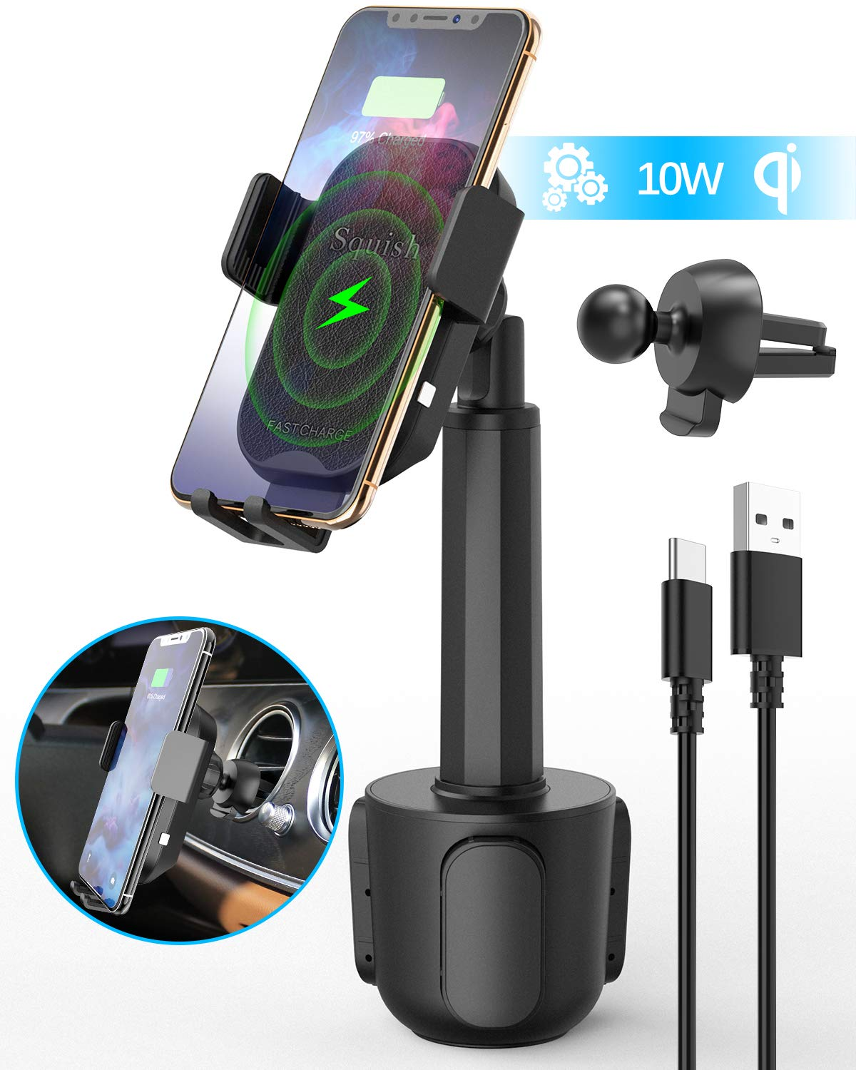 Wireless Car Charger, Squish 2-in-1 Universal Cell Phone Holder Cup Holder Phone Mount Car Air Vent Holder for iPhone, Samsung, Moto, Huawei, Nokia, LG, Smartphones (7.6 inches) by Squish