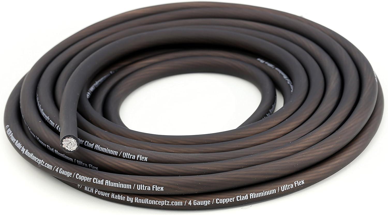 KnuKonceptz KCA Kable 4 Gauge Battery Power Ground Wire Black 15 Ft
