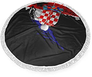 ZLCMMF Croatia Flag and Map Croatian Pride Merry Christmas Tree Skirt, for Xmas Holiday Party Supplies Large Tree Mat Decor Ornaments 48 Inch for a Mini Tree Top Table