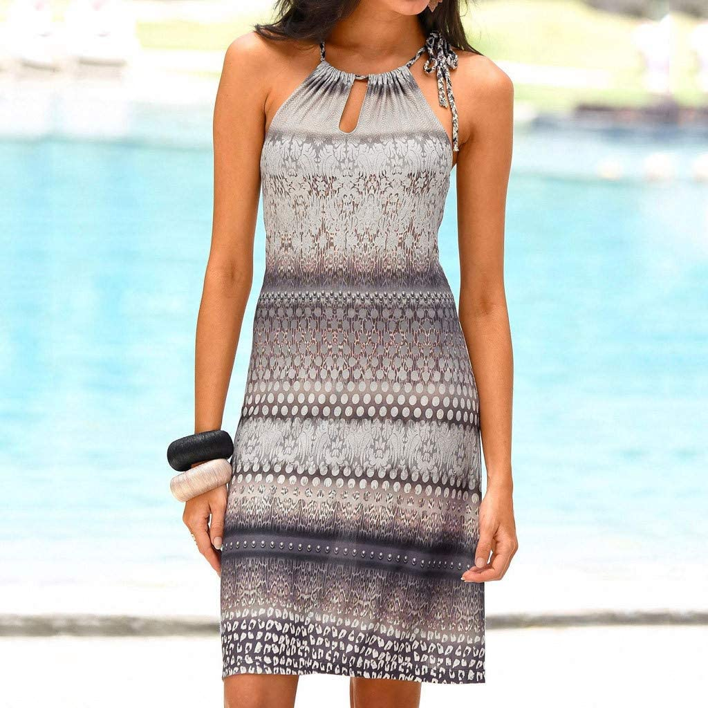 Bohelly Womens Halter Collar Boho Print Sleeveless Casual Mini Beach Sling Strap Bohemian Print Off-Shoulder Dress Dress