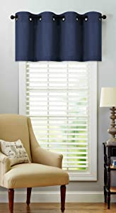 Regal Home Collections Luxurious Oversized Grommet Top Window Valance - Assorted Colors (Navy)