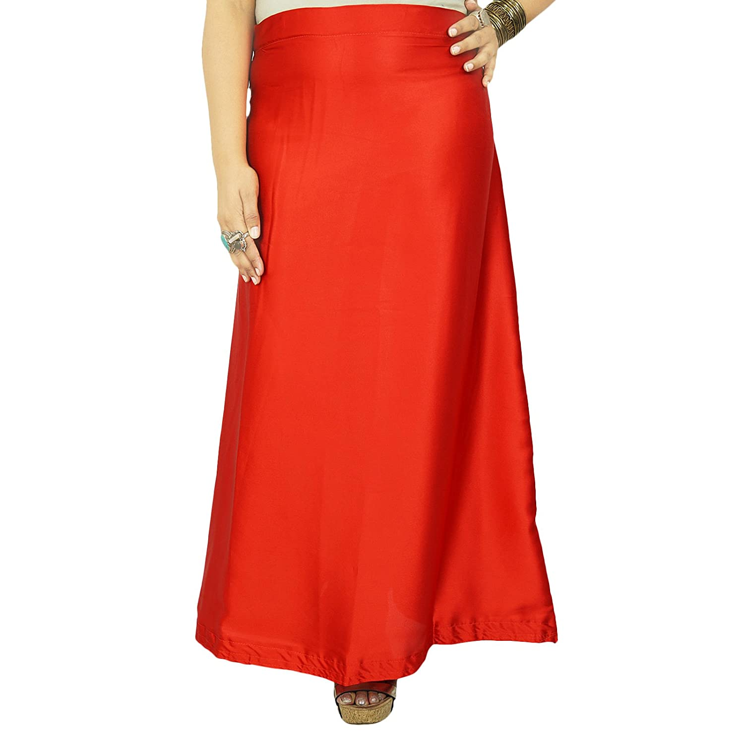 Indian Satin Silk Petticoat Bollywood Solid Inskirt Lining For Sari Gift For Her