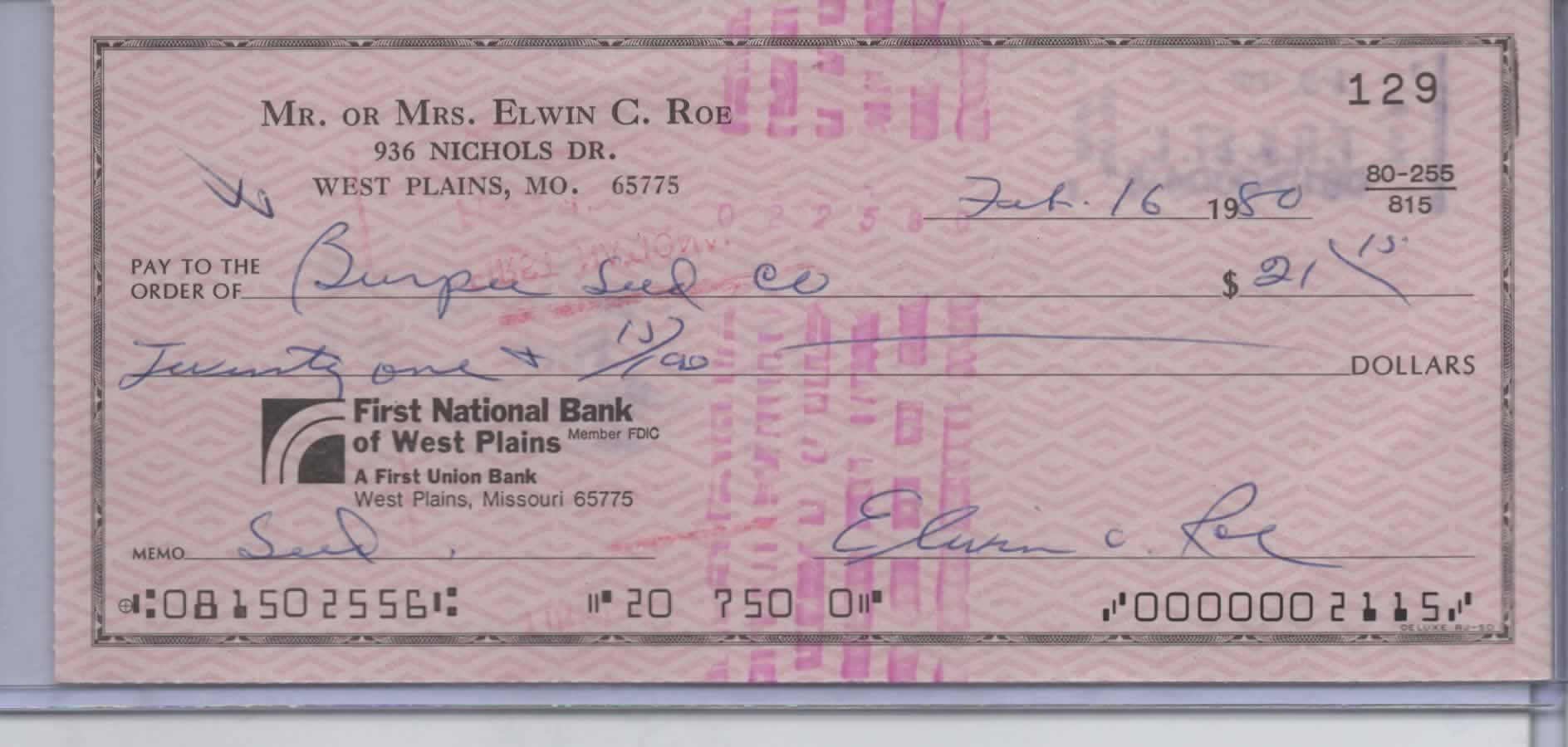 "PREACHER ""ELWIN"" ROE SIGNED PERSONAL CHECK #129"