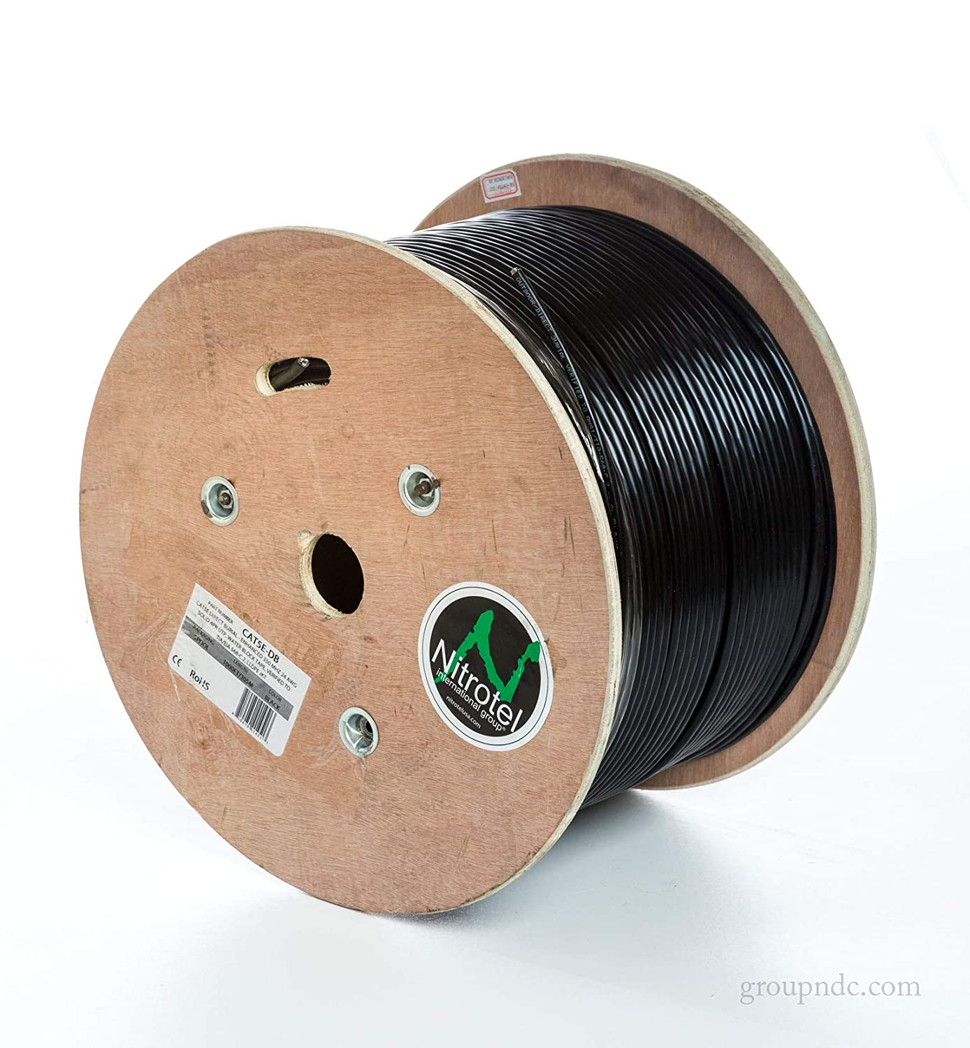 Black Nitrotel Cat 6 Enhanced F//UTP Outdoor Cable 100/% Copper 1000ft CMX Rated