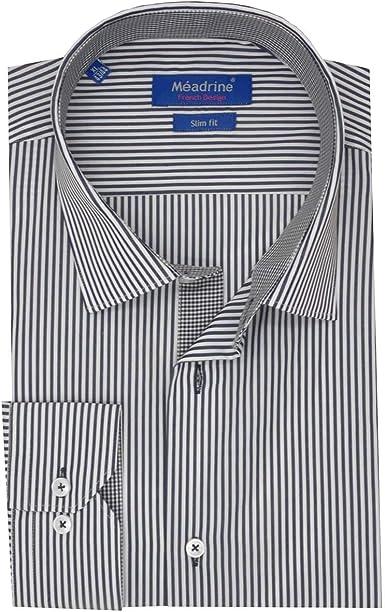 Meadrine Hombre Slim Fit Camisa es Rayas Azul Marino Pega algodón algodón Negro Micro trazadores de líneas: Amazon.es: Ropa y accesorios