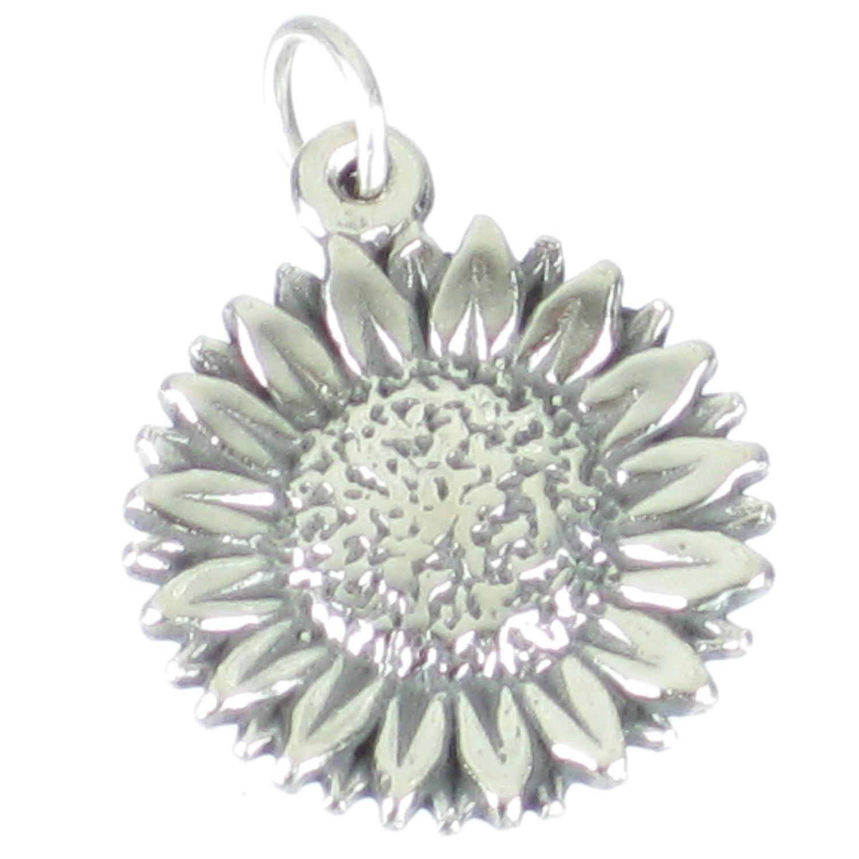 Sunflower sterling silver charm pendant .925 x 1 Sunflowers charms SSLP1697