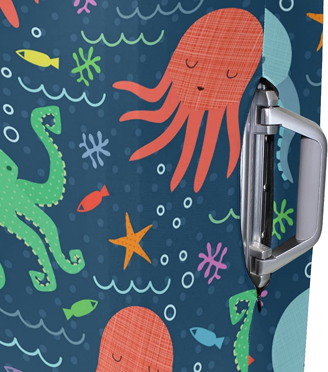 Elastic Travel Luggage Cover Cute Marine Octopus Suitcase Protector for 18-20 Inch Luggage