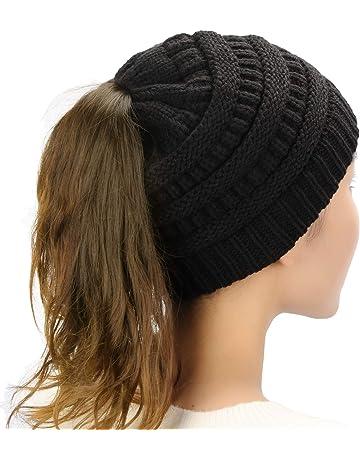 b026286cda238 Dafunna Mujer Gorros de Punto Coleta Beanie Sombrero Invierno Suave Cálido  Elástico Ponytail Beanie Hat