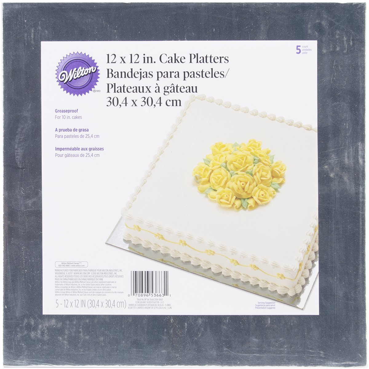 Wilton Silver 12-Inch Square Cake Platters, 5 Count 2104-0663