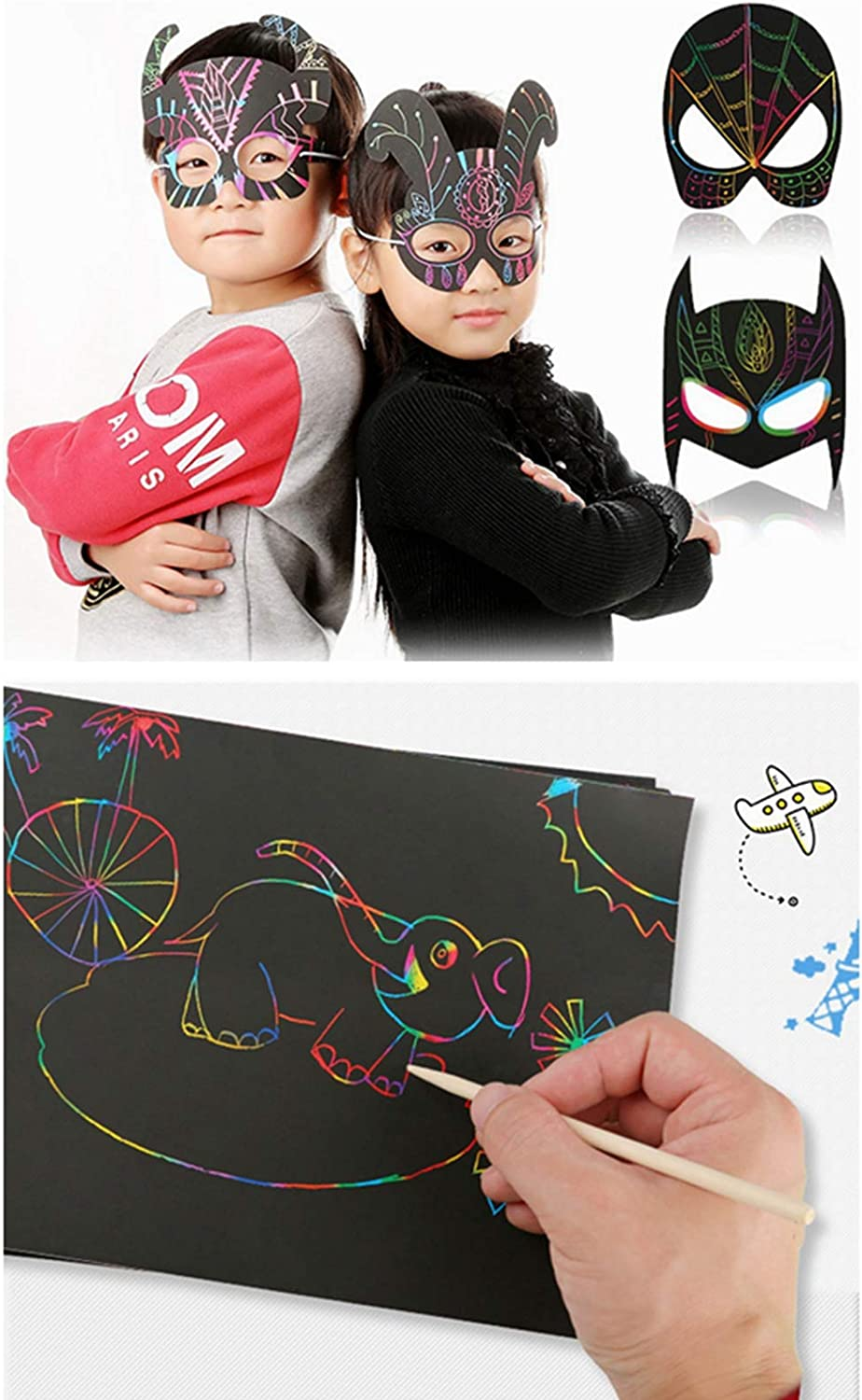 Lbsel 50 Piece Rainbow Scratch Paper L-10.6 inch,W-7.6 inch Scratch Art Paper Set for Kids Include 4 Wooden Styluses and 4 Drawing Stencils for Birthday Party Favor Game Activities