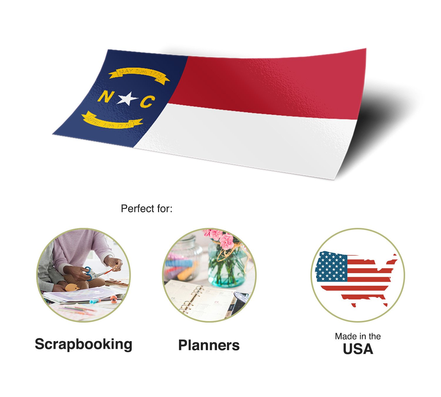 North Carolina NC State Flag Sticker Decal 1 Inch Rectangle Two Sheets 50 Total Pieces Kids Logo Scrapbook Car Vinyl Window Bumper Laptop R