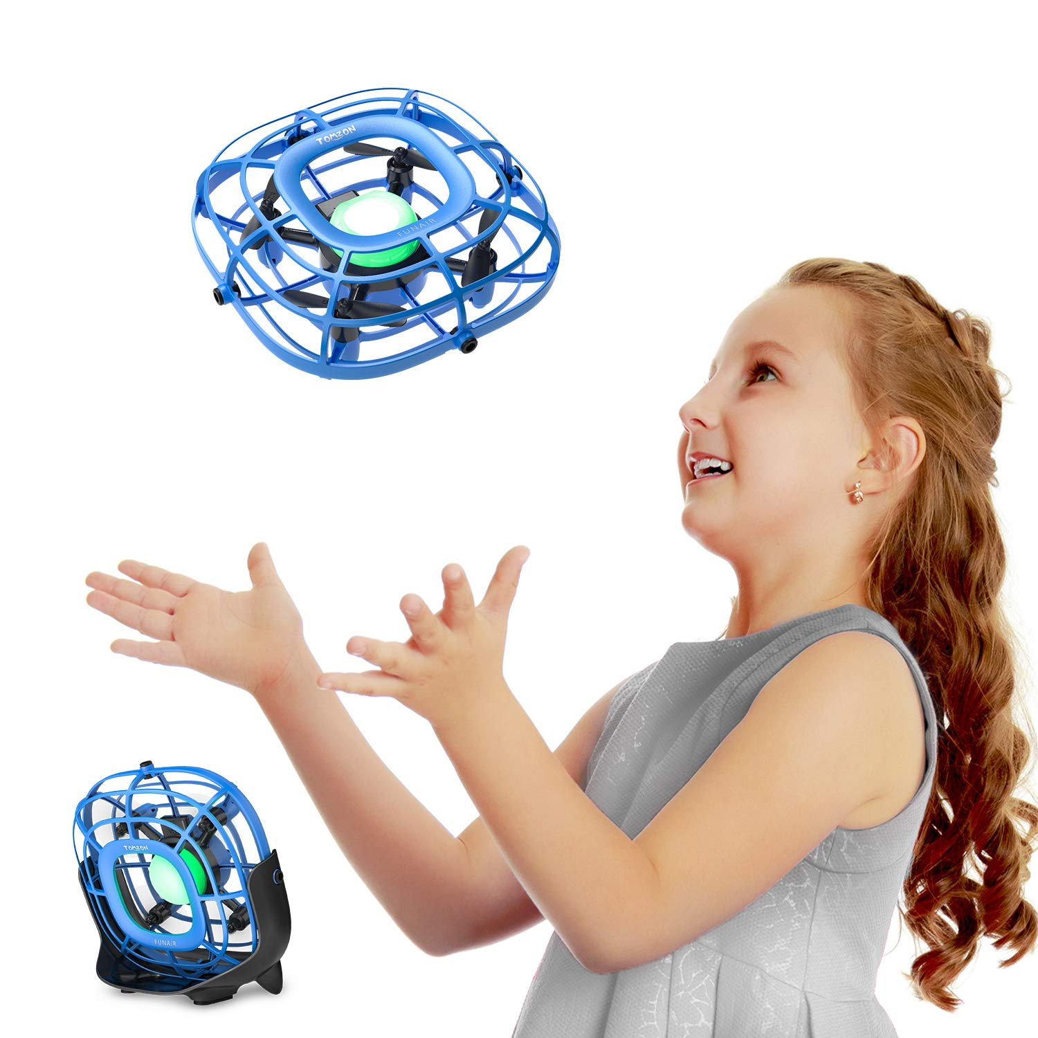 Mini Drone, Levitation UFO Drone, Hand Operated Quad Induction, Easy Controlled 2 Speed, Mini Handheld USB Fan,Toys for Boys and Girls,Tomzon A15 Blue by Tomzon
