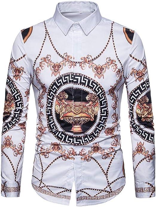Camisas para Hombre Regular Fit, Camisa de Manga Larga con Estampado de Cadenas de Trofeo de otoño de Gran tamaño (Color : Blanco, tamaño : L): Amazon.es: Hogar
