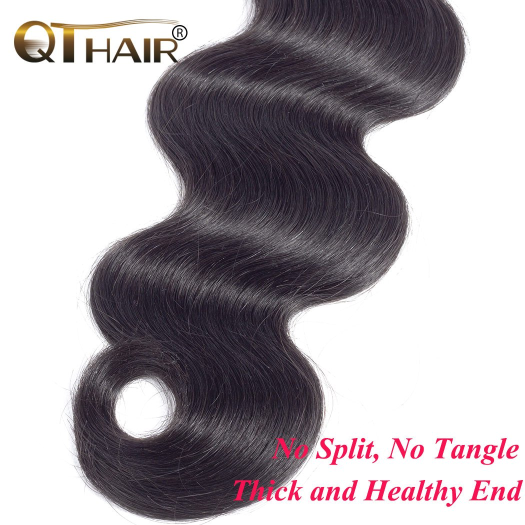 QTHAIR 10a Brazilian Virgin Hair Body Wave 4 bundles 20 22 24 26 inches 400g Unprocessed Brazilian Body Wave Human Hair Weave for Black Women Natural Color Tangle Free by QTHAIR (Image #6)