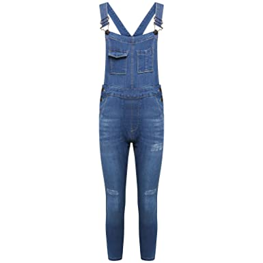 0d6cf91f0a New Women s Ladie Denim Ripped Knee Pinafore Dungaree Onesie Jumpsuit  Trousers Jeans Blue Black (10