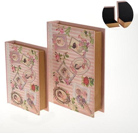 Caja de madera con diseño de libro