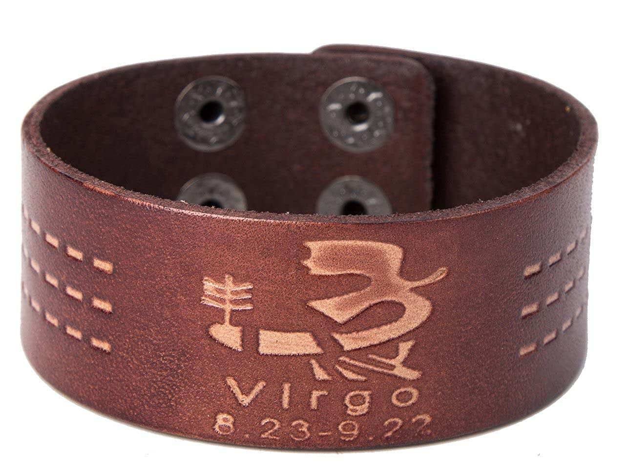 fishhook 12 Constellations Virgo Sign Wristband Leather Bracelet for Man and Women